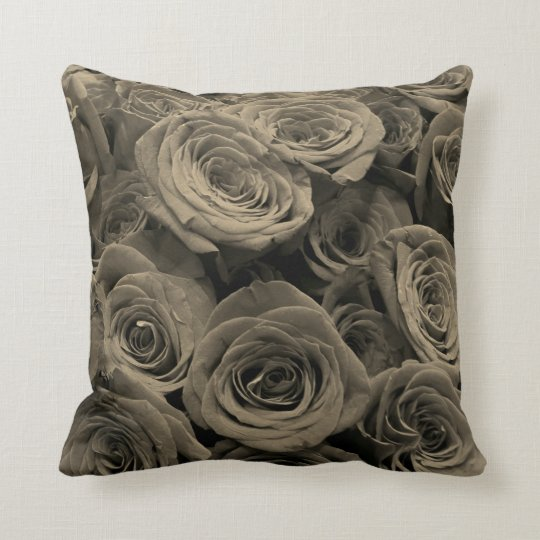 Warm Grey Roses Throw Pillow