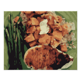 Warm Homemade Potatoes and Green Beans Posters