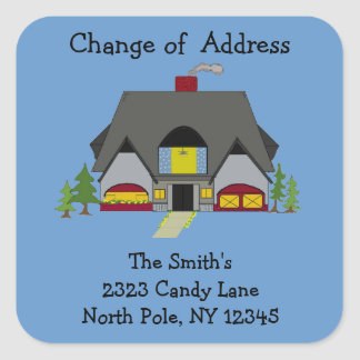 Warm House Change of Address Square Sticker