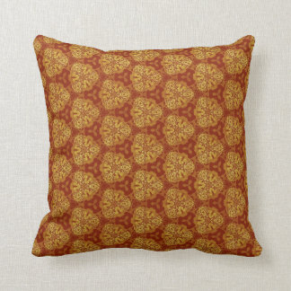 Warm Hued Earth Tones Gold and Sienna D020 Throw Pillow