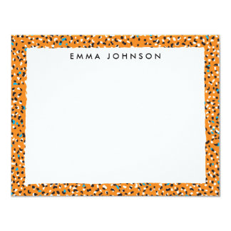 "Warm Leopard Flat Note Card with patterned backer 4.25"" X 5.5"" Invitation Card"