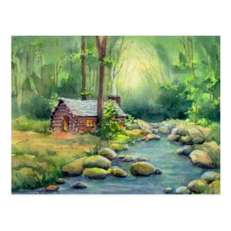 WARM LOG CABIN by SHARON SHARPE Postcard