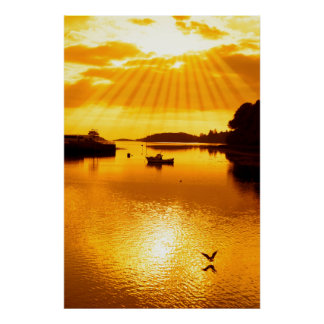 warm orange silhouette of boat and birds at sunset poster