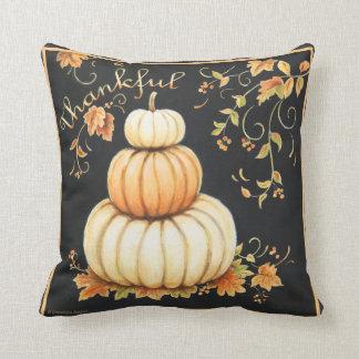 Warm pumpkins with black bckgrd 'Thankful' pillow. Throw Pillow