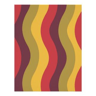 Warm Red Mix Wavy Stripes Custom Letterhead