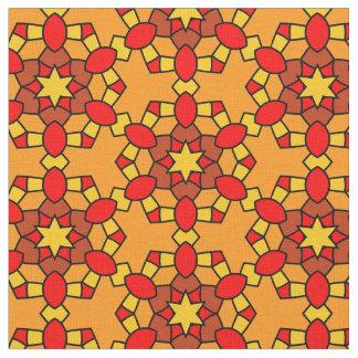 Warm Red Orange Yellow Hexagon Geometric Pattern Fabric