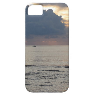 Warm sea sunset with cargo ship and a small boat iPhone 5 cases