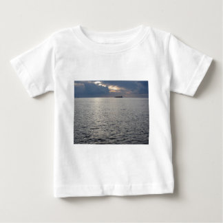 Warm sea sunset with cargo ship at the horizon baby T-Shirt