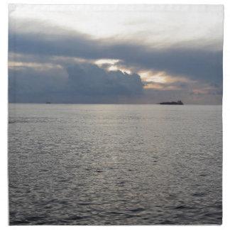 Warm sea sunset with cargo ship at the horizon napkin