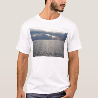 Warm sea sunset with cargo ship at the horizon T-Shirt