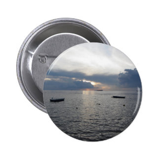 Warm sea sunset with cargo ships 2 inch round button