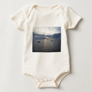 Warm sea sunset with cargo ships baby bodysuit