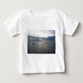 Warm sea sunset with cargo ships baby T-Shirt