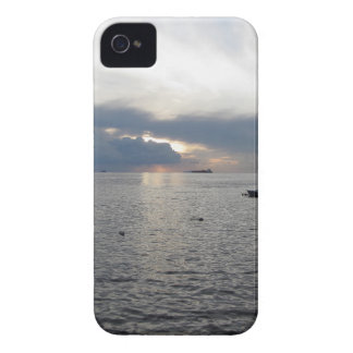 Warm sea sunset with cargo ships iPhone 4 case
