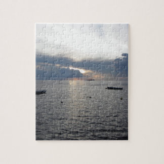 Warm sea sunset with cargo ships jigsaw puzzle