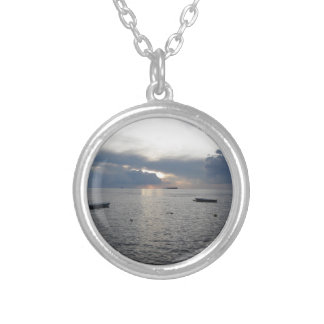 Warm sea sunset with cargo ships silver plated necklace