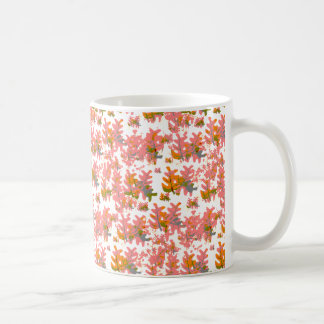 Warm Shades of Orange Fall Colored Leaves Pattern Coffee Mug