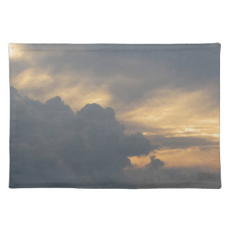 Warm sky with giants cumulonimbus clouds at sunset placemat