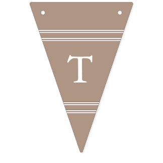 Warm Taupe Beige with White Wedding Detail Bunting Flags