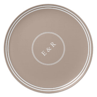 Warm Taupe Beige with White Wedding Detail Dinner Plate