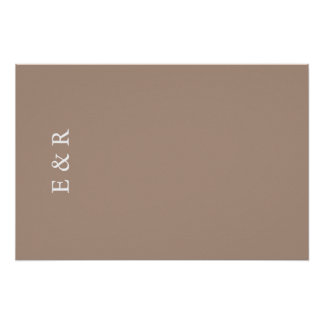 Warm Taupe Beige with White Wedding Detail Poster