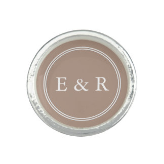 Warm Taupe Beige with White Wedding Detail Rings