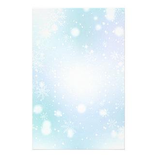 Warm Teal and Purple  Winter Wonderland Snowflakes Stationery Design