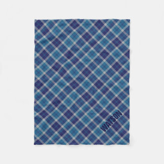 Warm Tone Blue Scottish Plaid Tartan Personalized Fleece Blanket