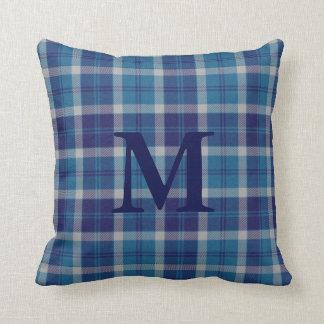 Warm Tone Blue Scottish Plaid Tartan Personalized Pillow