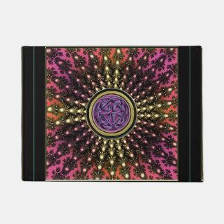 Warm Toned Celtic Fractal Mandala Door Mat