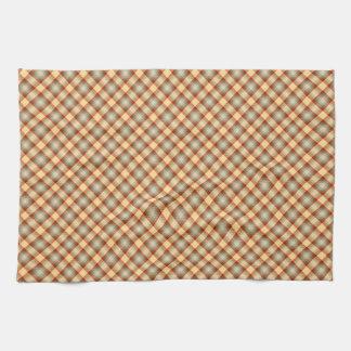 Warm tones plaid pattern towels