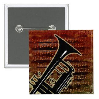 Warm Tones Trumpet Pinback Button