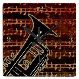 Warm Tones Trumpet Wall Clock