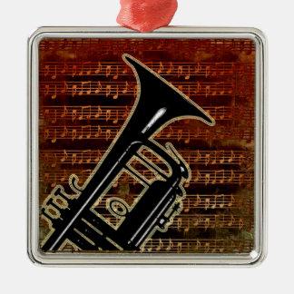 Warm Tones Trumpet Silver-Colored Square Ornament