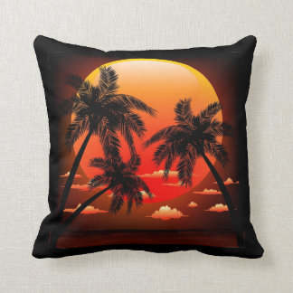 Warm Topical Sunset and Palm Trees Pillow