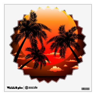 Warm Topical Sunset and Palm Trees Wall decal