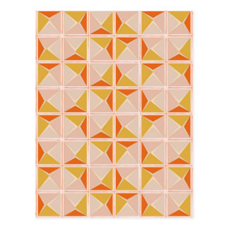 Warm Vintage Geometric Pattern Postcard