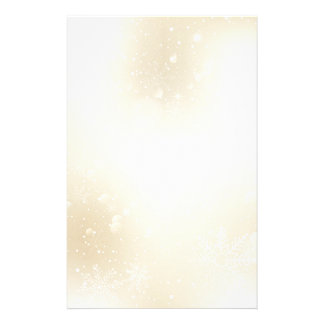 Warm Winter Gold Wonderland with Snowflakes Customized Stationery