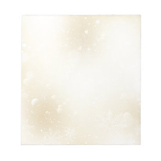 Warm Winter Gold Wonderland with Snowflakes Notepad