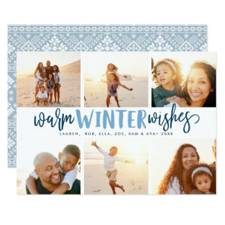 Warm Winter Wishes   Photo Collage Holiday Card