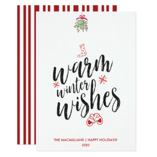 Warm Winter Wishes Red Candy Stripes Happy Holiday Card
