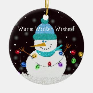 """Warm Winter Wishes"" Snowman Ornament"