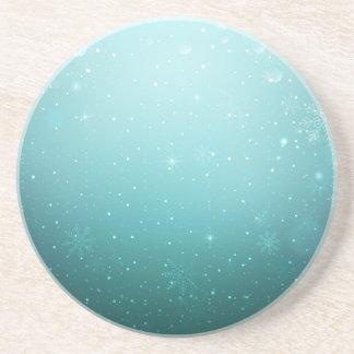 Warm Winter Wonderland with Snowflakes Beverage Coasters