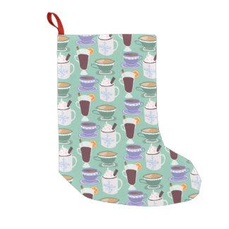 Warm Wintery Drinks Print Small Christmas Stocking
