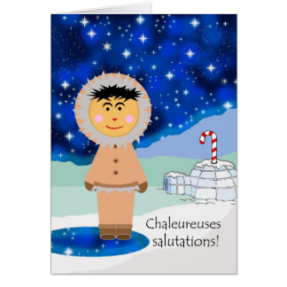Warm Wishes for Christmas in French, Eskimo Card