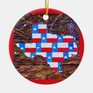 Warm Wishes from Texas Round Ceramic Ornament