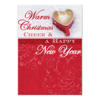 Warm Wishes Red & White Swirl Holiday Card