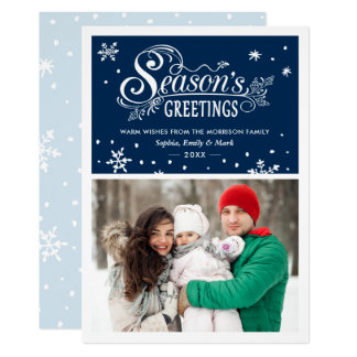 Warm Wishes Season's Greetings Typography Photo Card