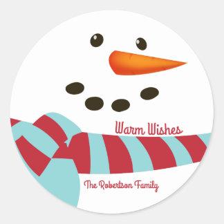 Warm Wishes, Snowman Holiday Classic Round Sticker