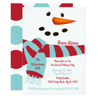 Warm Wishes, Snowman Holiday Party Invitations